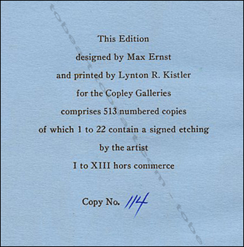 MAX ERNST - 30 years of his work. A survey. Beverly Hills, The Copley Galleries, 1949.